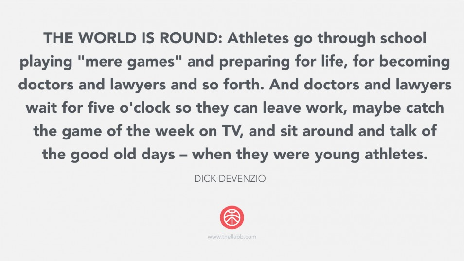 Youth sports is not a job. Doctors and lawyer can't wait for five o'clock so they can leave their job, catch the game of the week, and sit around and talk of the good old days when they were young athletes.