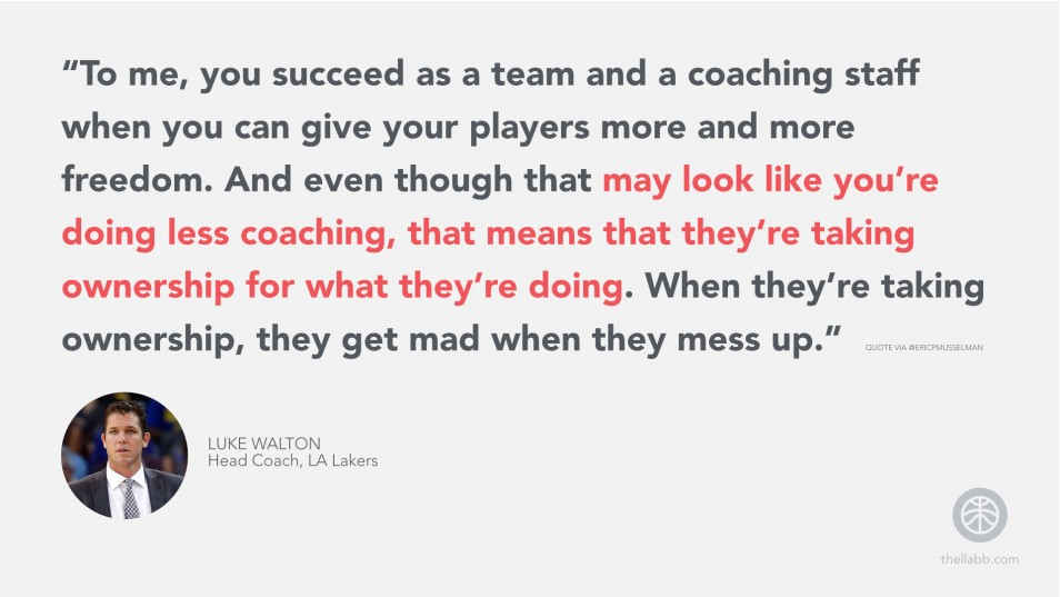 """""""...you succeed as a team and a coaching staff when you can give your players more and more freedom. And even though that may look like you're doing less coaching, that means that they're taking ownership for what they're doing."""""""
